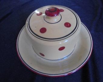 Vintage French enamel butter dish, melior garanti 1950, retro butter dish