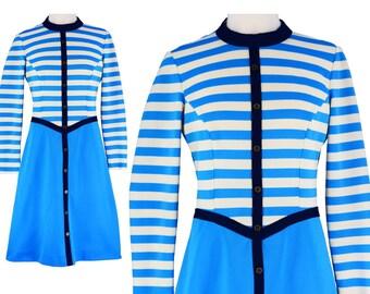 Vintage Dress, 1960s Dress, 60s Dress, Blue Vintage Dress, Bright Blue Dress, Mod Dress, Scooter Dress, Knit Dress, Striped Dress, Medium