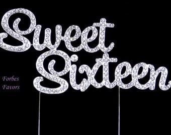 Large Sweet Sixteen Silver Real Rhinestone Birthday Bling Cake Topper