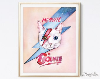 Cat Painting - Meowie Bowie - Cat Portrait - Illustration - Cat Art - Cat Lovers - Watercolor Painting