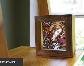 The Virgin Mary Handmade Timber Light Box. See through prints that glow in natural light - just like stained glass!