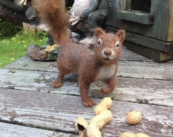 Needle Felted Squirrel Fiber Art Animal Made to Order