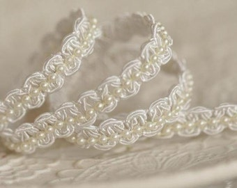 2 yards pearl lace trim, beaded lace trim