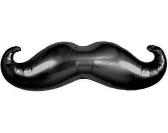 "38"" Mustache Mylar Balloon Large Party Helium or Air Movember Little Man Its a boy Shower Birthday"