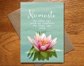 Every Day Spirit / Namaste Card / Yoga Teacher Card / Beautiful Namaste Card / Lotus Blossom Card / Namaste Birthday Card / 5x7