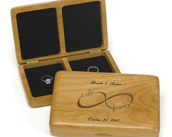 I Do Infinity Wedding Ring Box , Infinity Ring Box , Engraved Wedding Ring Box