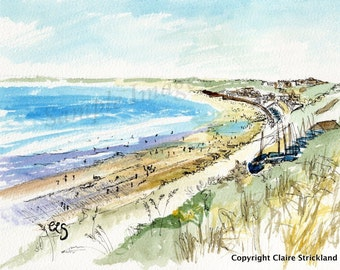 North Cliff Filey, Yorkshire - Giclee Print of Original Watercolour and Pen Drawing by English Artist Claire Strickland