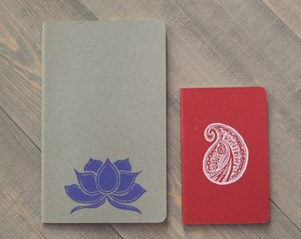Moleskine Cahier journals, Valentine's day gift, Lotus and paisley notebooks,  Block print journals, Yoga journals, Red and gray, Set of 2