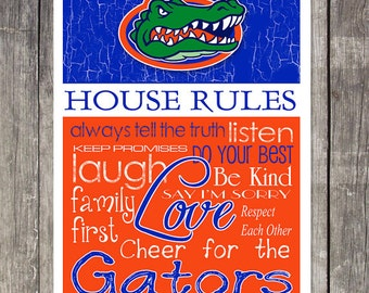 Florida Gators House Rules 4x4.1/2 Fridge Magnet