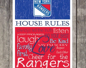New York Rangers House Rules 4x4.1/2 Fridge Magnet