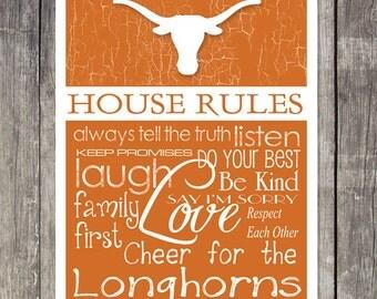 Texas Longhorns House Rules 4x4.1/2 Fridge Magnet