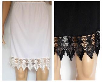 Skirt extender, slip extender, dress extender, dress lengthener, wedding skirt, Venice lace skirt Extender, half slip, Large sizes available