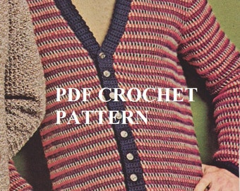 Vintage 1970's Men's Three Color Cardigan, Crochet PDF Pattern