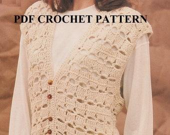 Easy Woman's Vest, Vintage 1994, Crochet PDF Pattern