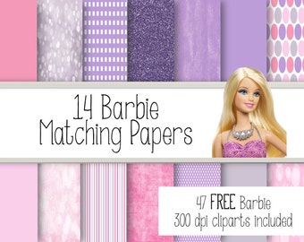 14 Barbie Matching papers.  Digital Papers + 47 FREE Clipart.