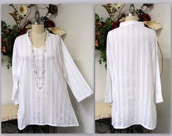 Cool and Comfortable Textured Cotton Plus Size Tunic. Our Cotton Cools Line.
