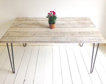 Rustic Industrial Hairpin Leg Dining Table