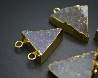 1pc Two loops on top Natural Gray Drusy Agate Triangle Stone Pendant Gold plating Rings DIY Jewelry making