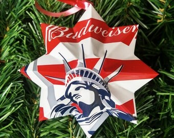 set of 4 patriotic budweiser christmas ornament