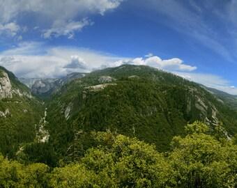 Yosemite, California, Tunnel, Half Dome, Valley, Panorama, Clouds, Road, Path, Rock wall