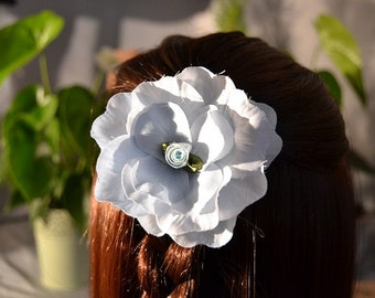 Flower hair piece, flower hair clip, flower hair accessories, pale blue hair flower, rose hair clip, silk flower hair clip, rose hair piece