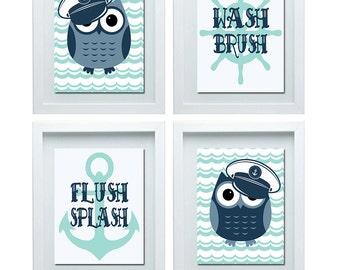 Owl Bathroom Decor, Bathroom Rules, Boys Bathroom Rules, Boys Bathroom Wall Art, Boys Bathroom Wall Decor, Nautical Bathroom Decor