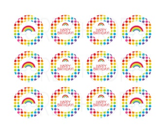 Rainbow Cupcake Toppers or Gift Tags - Instant Download