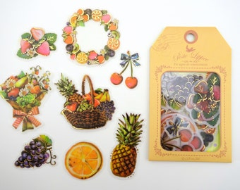 32 LARGE Japanese fruit sticker flakes - vintage style fruit baskets & bouquets - pineapples - straweberries - oranges - cherries - grapes