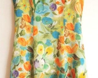 Vintage Floral Dress - Summer Dress, Georgiou Studio, Short Dress, Polyester Dress, Straps Dress,