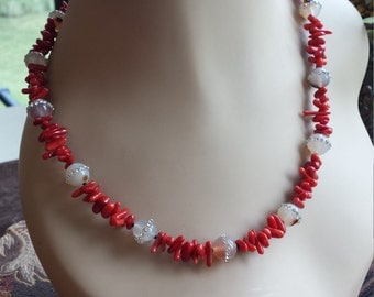 One strand branch coral and jasper necklace