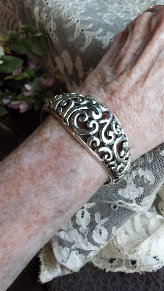 Sterling silver open hearts cuff bracelet