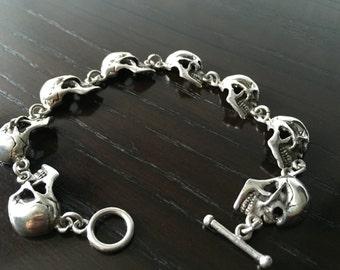 Mens .925 Sterling Silver Skull Link bracelet handmade.