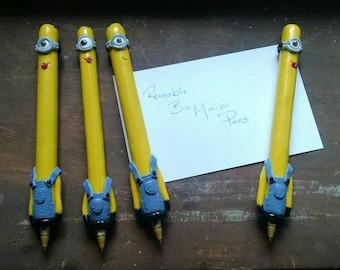 Refillable handmade polymer Clay Minion pen
