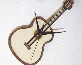"""Wooden wall clock """"GUITAR"""""""