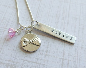 Pinky Swear Necklace Friendship Personalized Hand Stamped Best Friend