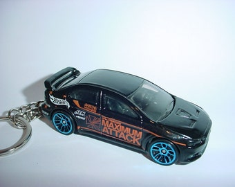 3D 2008 Mitsubishi Lancer Evolution custom keychain by Brian Thornton keyring key chain finished in black color trim diecast metal body evo