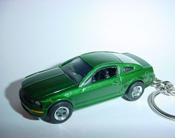 3D 2008 Ford Mustang GT BULLITT custom keychain by Brian Thornton keyring key chain finished in jade green color trim hood opens!