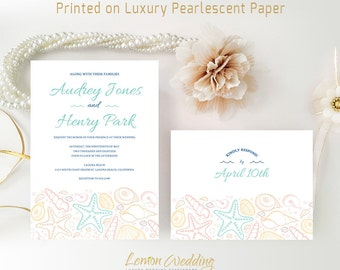 Beach wedding invitation sets printed on white shimmer paper | Starfish themed Invitations and RSVP