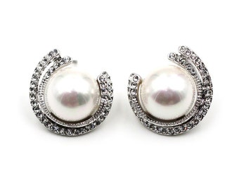 Fashion Silver pearl Crystal Earrings