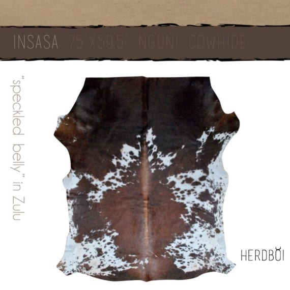 Cowhide Rug Luxe Brown And White Hide By Herdboi On Etsy