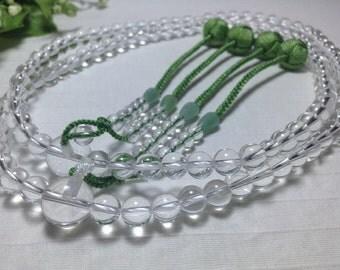 Clear quartz Japanese prayer beads,Large Buddhistische malas handicraft / spring green tassels,free world shipping