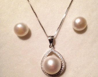 Genuine 9-10mm Freshwater Pearl Necklace and Earring set 925 silver Wedding Bridesmaid Gift