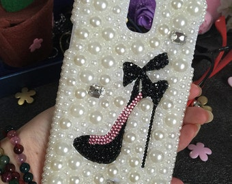 Bling Pearls Cute High-heeled shoes Lovely Fashion Sparkles Charms Glossy Crystals Rhinestones Diamonds Gem Hard Cover Case for Mobile Phone