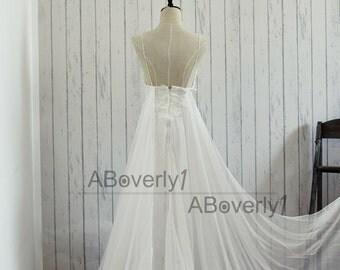 Beach Boho Lace Chiffon Backless Wedding Dress Bridal Gown