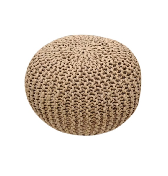 handmade knitted pouf shadow gray taupe hand knit pouf by gfurn. Black Bedroom Furniture Sets. Home Design Ideas