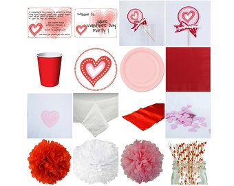 Valentine's Day Standard Party in a box. Invitation. Decoration. Favors. Centerpiece.