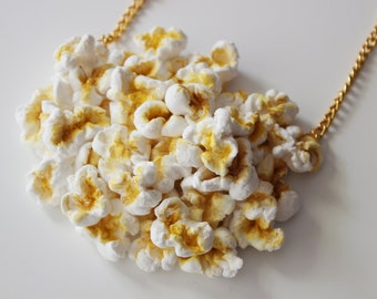 Popcorn Clutch Bag Purse Popcorn Necklace Jewelry Accessories Fun Color Food Jewelry Hungry Design Designer Rommydebommy Cinema Movie Cute