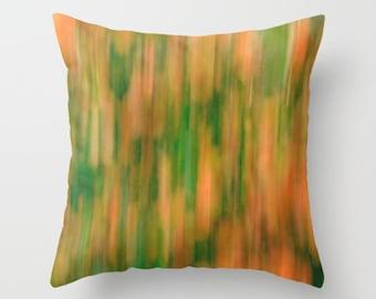 Modern art pillow, abstract pillow, green orange pillow cover, peach kiwi accent pillow, sofa decorative pillow, living room pillow throw