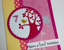 Personalized Birthday Card, Little Golden Bird, Scrapbook Paper Handmade Greeting Card for Child, Girl, Friend, Teen, Niece, Cousin, Aunt