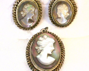 Vintage 800 Sterling Silver Shell Cameo Pendant and Earrings Set